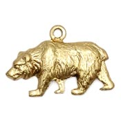 Walking Bear Charm Brass