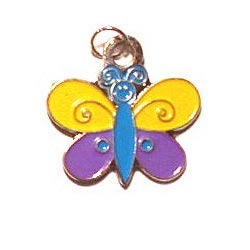 Yellow Purple Butterfly Charm