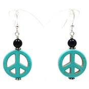 Sterling Onyx And Turquoise Howlite Peace Sign Earrings