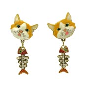 Cat And Fish Bone Earrings By Lunch At The Ritz LATR 2GO