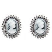 Rhinestone Cameo Earrings