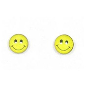 Sterling Happy Face Stud Earrings