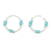 Sleeper Hoop 12mm Sterling And Turquoise Enamel