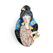 Girl With Chicks Brooch By Laliblue