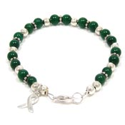 Green Beaded Awareness Ribbon Bracelet