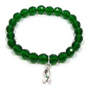 Green Awareness Ribbon Sparkle Bracelet