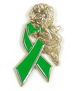 Green Ribbon Angel Tie Tack Pin