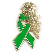 Green Ribbon Angel Tie Tack Pin