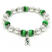 Green Awareness Ribbon Beaded Stretch Bracelet