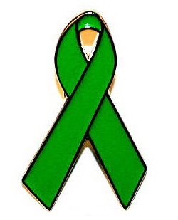 Green Awareness Ribbon Tie Tack Pin