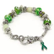 Green Ribbon Slider Bead Bracelet