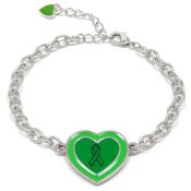 Adjustable Green Ribbon Heart Bracelet