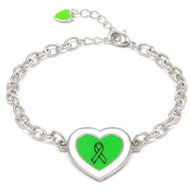 Adjustable Lime Green Ribbon Heart Bracelet