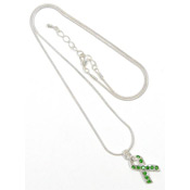 Lime Crystal Awareness Ribbon Necklace