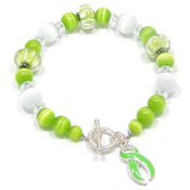 Lime Green Ribbon Beaded Lampwork Bracelet