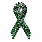 Super Sparkly Green Ribbon Pin