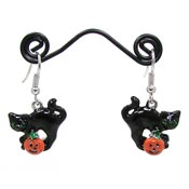 Black Cat And Jack O Lantern Earrings