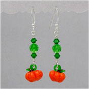Sterling Crystal Lampwork Pumpkin Earrings