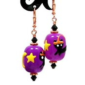 Copper Halloween Kitty Earrings