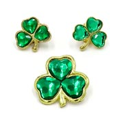 Vintage Three Bejeweled Shamrock Pins