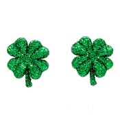 Green Glitter Four Leaf Clover Earrings