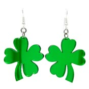 Large Mirror Four Leaf Clover Earrings