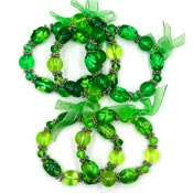 Handpainted Shamrock Beaded Stretch Bracelets