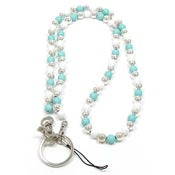 Light Blue And White Beaded Lanyard