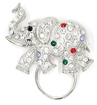 Crystal Elephant Glasses or ID Badge Holder Pin