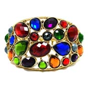 Colorful Bejeweled Gold Cuff Bracelet
