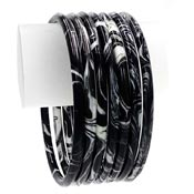 Black And White Marbled Acrylic Bangle Bracelet Set