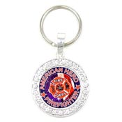 Crystal Studded Firefighter Keychain