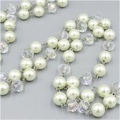 Long 42 Inch Pearl And AB Rondelle Crystal Necklace