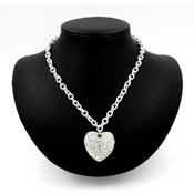 Large Rhinestone Heart Necklace