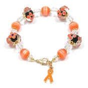 Orange Ribbon Lampwork Beaded Bracelet