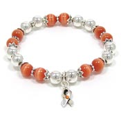 Orange Awareness Ribbon Beaded Stretch Bracelet