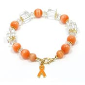 Orange Ribbon Beaded Bracelet