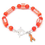 Orange Ribbon Cane Glass Beaded Bracelet