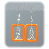 Orange Ribbon Window Earrings
