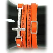 Orange Serenity Prayer Wrap Bracelet