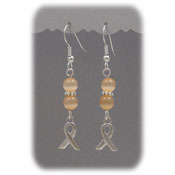 Peach Ribbon Beaded Earrings