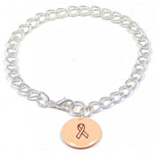 Peach Custom Colors Of Support Round Charm Bracelet
