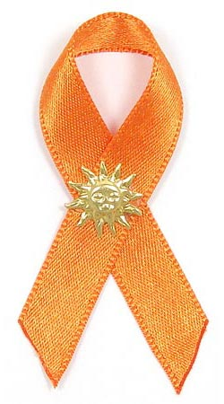 skin cancer awareness ribbon pin with sun