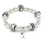 Beaded Zebra Awareness Ribbon Bracelet