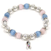Pink And Blue Awareness Ribbon Beaded Stretch Bracelet