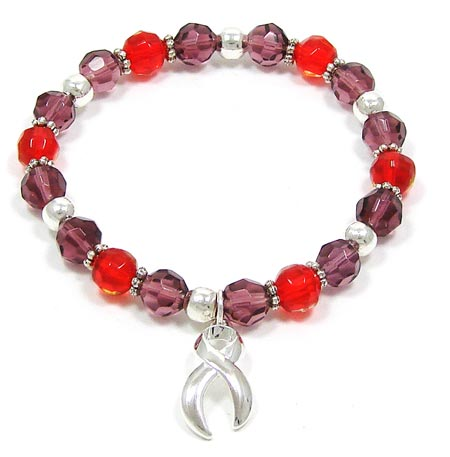 Purple And Red Awareness Beaded Bracelet