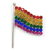 Rhinestone Rainbow Flag Pin