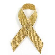 Gold Grosgrain Awareness Ribbon Pin