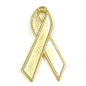 Gold Awareness Ribbon Tie Tack Pin