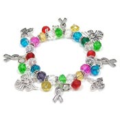 Multi Colored Awareness Ribbon Angel Bracelet